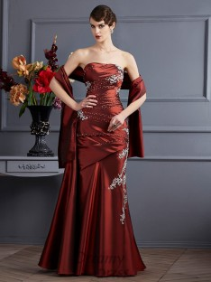 Sheath/Column Strapless Floor-Length Taffeta Dress