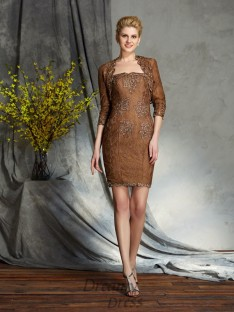 Sheath/Column Strapless Lace Short Mother of the Bride Dress