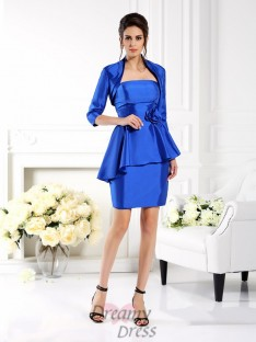 Sheath/Column Strapless Short/Mini Taffeta Mother of the Bride Dress