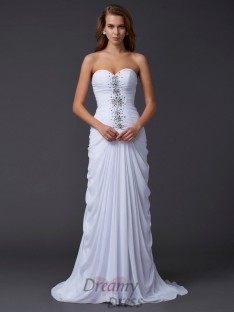 Sheath/Column Strapless Sweetheart Chiffon Sweep/Brush Train Dress