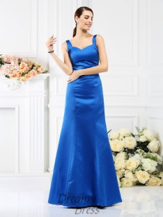 Sheath/Column Straps Floor-Length Satin Bridesmaid Dress