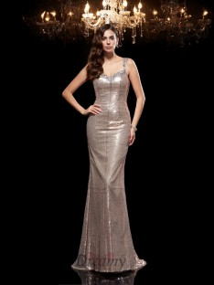 Sheath/Column Straps Sequins Sweep/Brush Train Dress