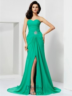Sheath/Column Sweetheart Chiffon Sweep/Brush Train Dress