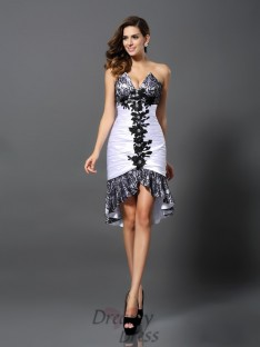 Sheath/Column Sweetheart Elastic Woven Satin Lace Asymmetrical Dress