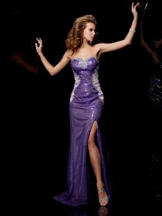 Sheath/Column Sweetheart Elastic Woven Satin Sweep/Brush Train Dress