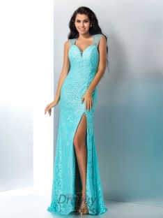 Sheath/Column Sweetheart Lace Long Dress