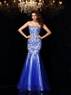 Sheath/Column Sweetheart Net Floor-Length Dress