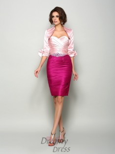 Sheath/Column Sweetheart Satin Knee-Length Mother of the Bride Dress