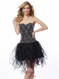 Sheath/Column Sweetheart Short/Mini Organza Dress