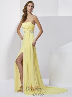 Sheath/Column Sweetheart Sweep/Brush Train Chiffon Dress