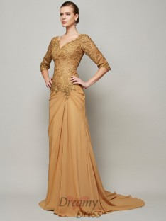 Sheath/Column V-neck Chiffon Floor-Length Lace 1/2 Sleeves Dress
