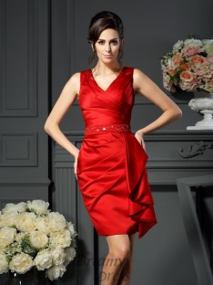 Sheath/Column V-neck Knee-Length Satin Dress