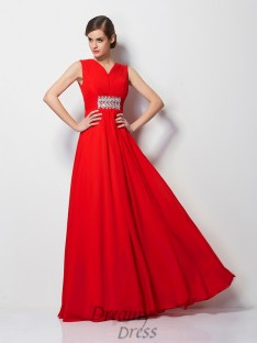 Sheath/Column V-neck Short Sleeves Chiffon Floor-Length Dress