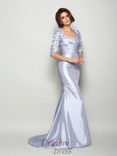 Sweetheart 1/2 Sleeves Taffeta Long Mother of the Bride Dress