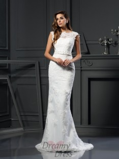 Trumpet/Mermaid Bateau Satin Lace Court Train Wedding Dress