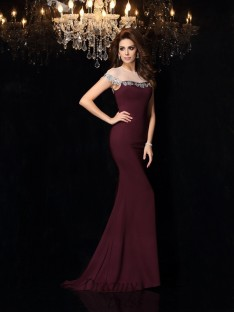 Trumpet/Mermaid High Neck Elastic Woven Satin Court Train Dress