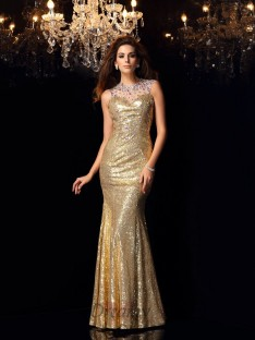 Trumpet/Mermaid High Neck Sequins Floor-Length Dress
