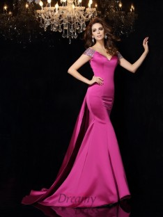 Trumpet/Mermaid Off-the-Shoulder Satin Court Train Dress