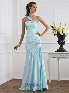 Trumpet/Mermaid One-Shoulder Ruched Floor-Length Elastic Woven Dress