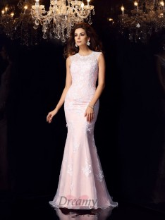 Trumpet/Mermaid Scoop Satin Lace Floor-Length Dress