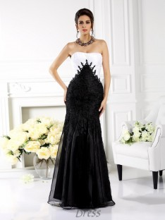 Trumpet/Mermaid Strapless Floor-Length Tulle Dress