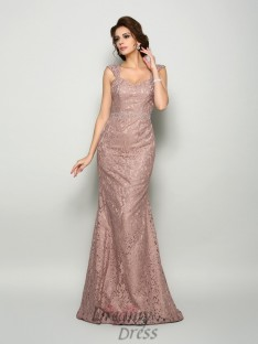 Trumpet/Mermaid Straps Satin Lace Sweep/Brush Train Dress