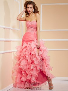 Trumpet/Mermaid Sweetheart Asymmetrical Organza Dress