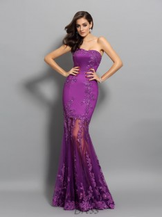Trumpet/Mermaid Sweetheart Chiffon Floor-Length Dress
