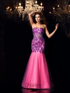 Trumpet/Mermaid Sweetheart Floor-Length Net Dress