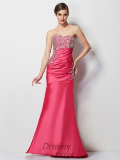 Trumpet/Mermaid Sweetheart Pleats Floor-Length Taffeta Dress