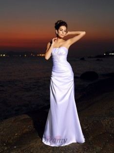 Trumpet/Mermaid Sweetheart Elastic Woven Satin Chapel Train Wedding Dress