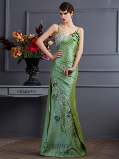 Trumpet/Mermaid Taffeta Spaghetti Straps Floor-Length Dress