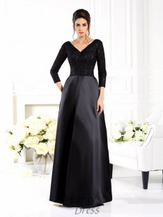 V-neck 3/4 Sleeves Floor-Length Satin Mother of the Bride Dress