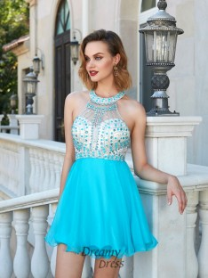 A-Line Halter Sleeveless Chiffon Short Dress with Beading
