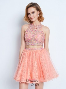 A-Line Jewel Sleeveless Lace Short Two Piece Dress with Beading