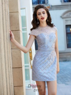 Sheath/Column Jewel Short Sleeves Satin Short Dress with Beading