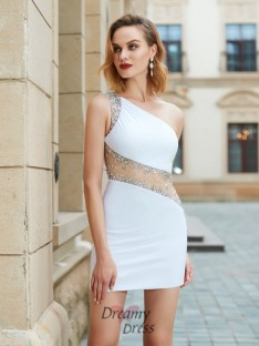 Sheath/Column One-Shoulder Short Net Dress with Beading